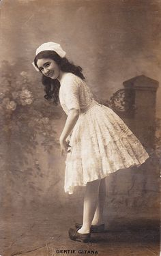 British music hall entertainer Gertie Gitana (who started preforming at age four and made her professional debut when she was eight) around the end of the 1890s.