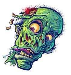 Zombie Head, Zombie Art, Zombie Drawings, Frankenstein Art, Sacred Heart Tattoos, Acid Art, Cartoon Tattoos, Clear Stickers, Monster Art