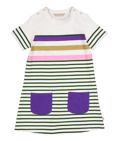 Green & Cream Stripe A-Line Dress - Infant Toddler & Girls
