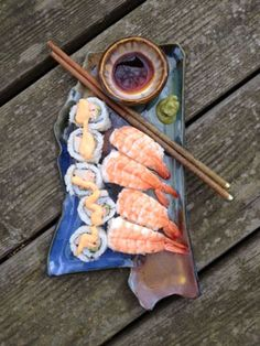 """Here's is my new Mississippi sushi set! Includes platter (approx. 11""""), dipping bowl and fancy chopsticks!"""