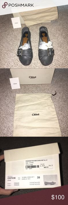 🔥Chloe Paddington Moccasins🔥 Adorable used Chloe Paddington moccasins. I need to clean my closet out, I am open to offers. The color is a grey metallic. Comes with original box, dust bag and card. These beauties are in used condition not brand new but still lots of life left. Please see all pictures as sales are final. Chloe Shoes Moccasins