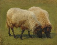 Two Black Faced Sheep Grazing by Rosa Bonheur | Art Posters
