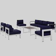 Shore 7pc Outdoor Patio Sectional Sofa Set - Navy (Blue) - Modway