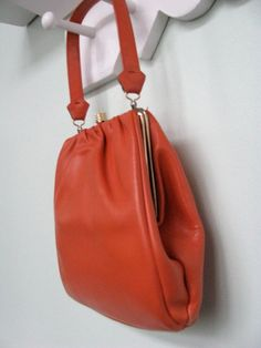 51d8ab846620 Retro Orange Leather Handbag - Vintage 50s 60s Purse