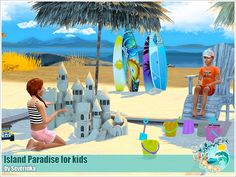 Set of objects for kids for the decoration of the beach/garden location. Found in TSR Category 'Sims 4 Decorative Sets'