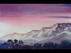 Рассвет акварелью. Учимся рисовать ярко.Sunrise in watercolour.Easy. Limited palette. - YouTube