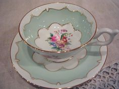 Coalport cups & saucers | Vintage Coalport Bone China Cup and Saucer Floral Mint Green Gold ...