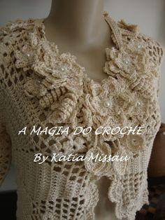 A+MAGIA+DO+CROCHÊ:+Bolero+Lanne+++colar+Mistral+Flower
