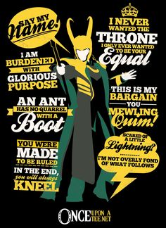 Add this Loki Quotes t-shirt to your collection of superhero villain clothes. The Thor Loki Collage shirt is ideal for fans of the God of Mischief. Marvel Quotes, Loki Quotes, Marvel Memes, Avengers Quotes, Hero Quotes, Avengers Imagines, True Quotes, Quotes Quotes, Loki Marvel