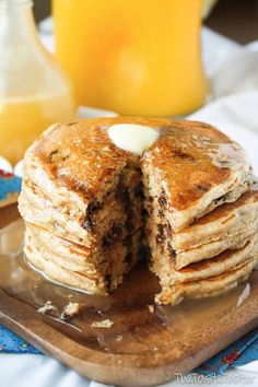 Whole Wheat Pancakes with Mini Chocolate Chips! #recipe | www.the-taste-tester.com