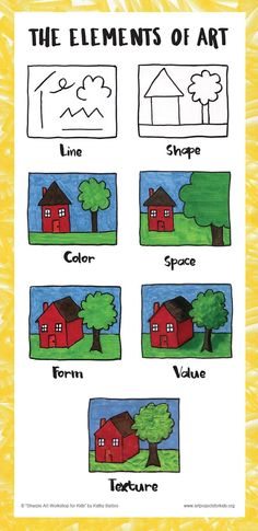 "Elements of Art, from ""Sharpie Art Workshop for Kids"". Super simple illustrations for young artists. #elementsofart #Sharpie"