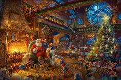 Santa's Workshop - Limited Edition Art - Thomas Kinkade Galleries of New York & New Jersey Thomas Kinkade Art, Thomas Kinkade Christmas, Thomas Kinkade Disney, Christmas Scenes, Christmas Pictures, Christmas Art, Vintage Christmas, Christmas Desktop, Xmas