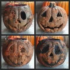 Four Corpse Pumpkins  use spiderweb  or cotton balls  and latex  and black spray paint and orange  paint  make them look more Halloween  ready