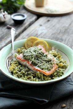 Baked Salmon with Spinach and Basil Pesto Pasta | PastaPlease @prowarekitchen