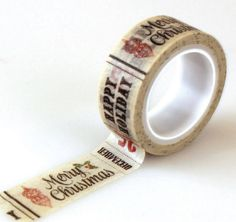 Merry Christmas Washi Tape, Happy Holidays Washi Tape, Printed Paper Tape, Planner Decoration, Holiday Washi Tape, Gift Wrap Tape