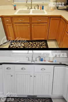 What to do with that wood trim around the countertops.  She used Behr French Roast UL140-1 to trim it out and then brushed nickel hardware.