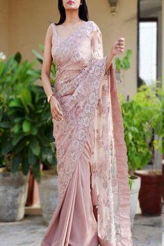 Buy Mauve Double Shaded Sequins Saree by Colorauction - Online shopping for Saree in India Lace Saree, Saree Gown, Tussar Silk Saree, Chiffon Saree, Net Saree, Sari, Trendy Sarees, Stylish Sarees, Indian Dresses