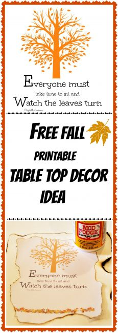 Free fall printable diy table top decor idea