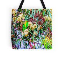 Red Faced Fig Parrot at the Botanical Garden in Eaglehawk, Victoria Tote Bag