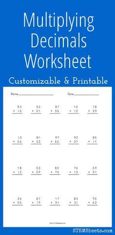 Multiplying Decimals Worksheet - Customizable and Printable