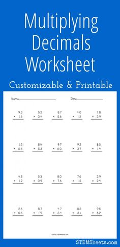 Math, Decimals worksheets and Decimal on Pinterest