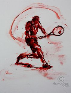 tennis-n-18-peinture-acrylique-et-sanguine-sur-carton-toile-format-50cm-sur-40cm-par-ibara.jpg - Pintura, 50x40 cm ©2016 por IBARA - Expresionismo, Lienzo, Deportes, tennis
