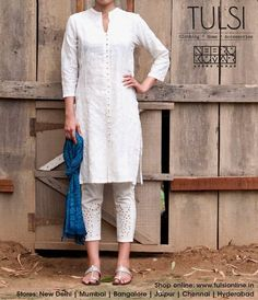white salwar kameez Spring Summer 2014 at Tulsi stores and Tulsi online // love simple outfits like this! Indian Suits, Indian Attire, Indian Wear, Pakistani Dresses, Indian Dresses, Ethnic Fashion, Asian Fashion, Sari, Desi Clothes