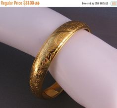 ON SALE Vintage Gold Plated Etched Bangle by JaesVintageJewelry
