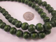 Wood Beads Forest Green Wood Dark Green 12mm Round Smooth by FLcowgirls