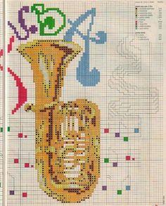 Schema punto croce Strumento musicale tromba | Hobby lavori femminili - ricamo - uncinetto - maglia