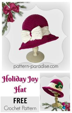 Holiday Joy Hat By Maria Bittner - Free Crochet Pattern - Adult And Child Sizes - (pattern-paradise) Crochet Adult Hat, Crochet Beanie, Free Crochet, Knitted Hats, Yarn Projects, Crochet Projects, Holiday Hats, Crochet Accessories, Women's Accessories
