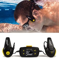 FINIS Neptune Underwater MP3 Player Designed for serious swimmers, this waterproof MP3 player produces high-quality sound without the use of earbuds. Instead it uses bone conduction transmission, which sends vibrations through your cheekbones directly to your inner ear, allowing you to listen to music and audio underwater the way your spirit animal the dolphin does. $160