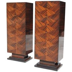 Pair of French Art Deco Exotic Macassar Ebony Pedestals, M-O-P Accents, 1940s | From a unique collection of antique and modern pedestals at https://www.1stdibs.com/furniture/tables/pedestals/