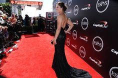 Gorgeous angle of professional soccer midfielder Carli Lloyd in her sparkling Matthew Christopher gown at the ESPY Awards at the Microsoft Theater on Wednesday, July 15, 2015, in Los Angeles.