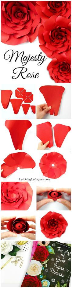 Large paper rose template. How to make paper roses.