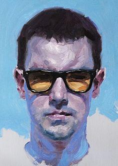 """Kevin"" - Jeff Hein (b. 1974), oil on linen {contemporary male head eyeglasses man face portrait painting} jeffhein.com"