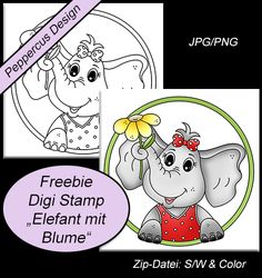 Freebie Digitale Stempel/Digi Stamps -Digi stamp elephant with flower