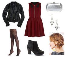 Skater dress moto jacket booties. College fashion. Skater dresses with heeled booties.