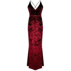 Boohoo Barley Crushed Velvet Fish Tail Maxi Dress   Boohoo (1.125 CZK) ❤ liked on Polyvore featuring dresses, boohoo dresses, fishtail maxi dress, fishtail dress, red dress and maxi dresses