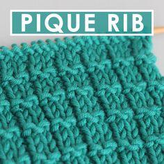 Pique Rib Knit Stitch Pattern with Video Tutorial by Studio Knit #StudioKnit #knitstitchpattern #piquerib #ribstitch