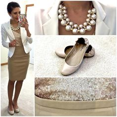 Sequin cami + white blazer + strings of pearls + camel pencil skirt Office Fashion, Work Fashion, Fashion Outfits, Womens Fashion, College Fashion, Curvy Fashion, Fashion Trends, Casual Chic, Casual Wear