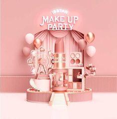 メイクの祭典「イセタン メイクアップ パーティ」約40のコスメブランドが伊勢丹新宿店に集結 - ファッションプレス Display Design, Booth Design, Store Design, 3d Design, Event Design, Graphic Design, Stand Feria, Rosa Pink, 3d Artwork