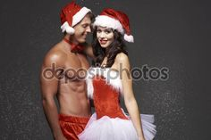Christmas couple in red underwear — Stock Image Christmas Couple, Undercover, Royalty Free Images, Underwear, Wrestling, Couples, Model, Red, Lucha Libre
