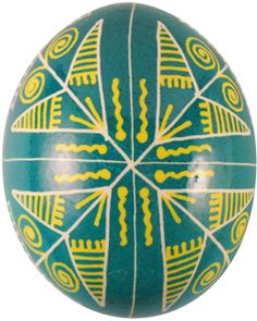 Pysanka with Butterfly motif which symbolizes Resurrection. The Green represents Spring and hope, and the yellow symbolizes warmth and the perpetuation of the family.