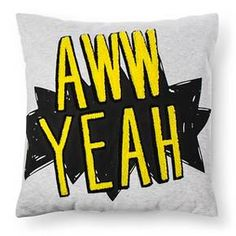 "Bring on the fun with the Aww Yeah Throw Pillow from Pillowfort. This playful message accent pillow uses a ""ka-pow"" style word bubble and it's AWW YEAH text in a fuzzy embroidery for extra punch. Accent Rugs, Accent Pillows, Throw Pillows, Shared Boys Rooms, Kid Rooms, Dog Throw, Cotton Textile, Music Wall, Man Room"