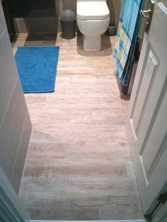 Porcelain wall tiles: ABK Docks Bone. Porcelain wood effect textured floor tiles: Monocibec Echo Gardena Naturale