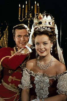 Romy Schneider and Karl Heinz Bohm on the set of the movie 'Sissi' by Ernst Marischka Romy Schneider performing as Elizabeth of Austria and Karl. Sissi Film, Impératrice Sissi, Romy Schneider Sissi, Princesa Sissi, Empress Sissi, Actrices Hollywood, Alain Delon, French Actress, Sweet Memories