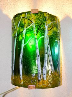 Aspen Grove Fused Glass Sconce  Emerald Green by MountinDesigns, $225.00