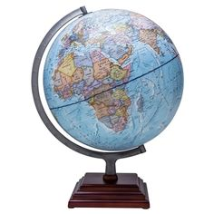 The Odyssey globe by Waypoint Geographic features an up-to-date 12-inch Blue Ocean globe with Silver finished metal and numbered meridian. The square three tier stepped wood base compliments the globe which can be used for reference and decor for the home or office. #oceanglobes #decorglobes #oceantopography #cartography