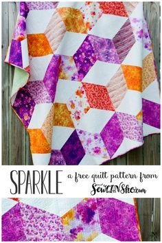 Free Sparkle Quilt sewing pattern! Big pieces mean fast finish.